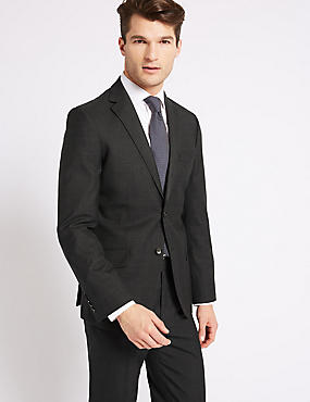 Grey Textured Tailored Fit Suit