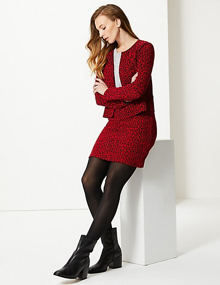 Animal Print Blazer & A-Line Skirt Suit Set
