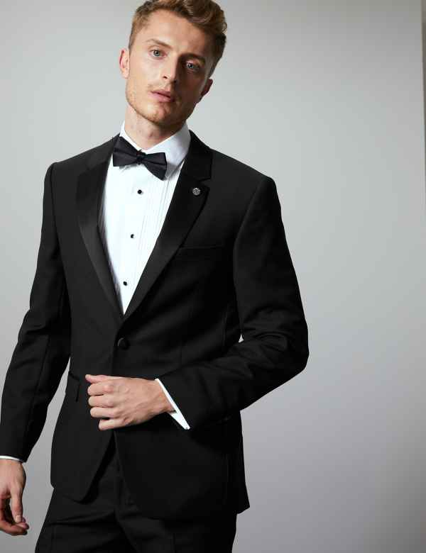 Black Tailored Fit Italian Wool Tuxedo Suit a90c55f6baa8
