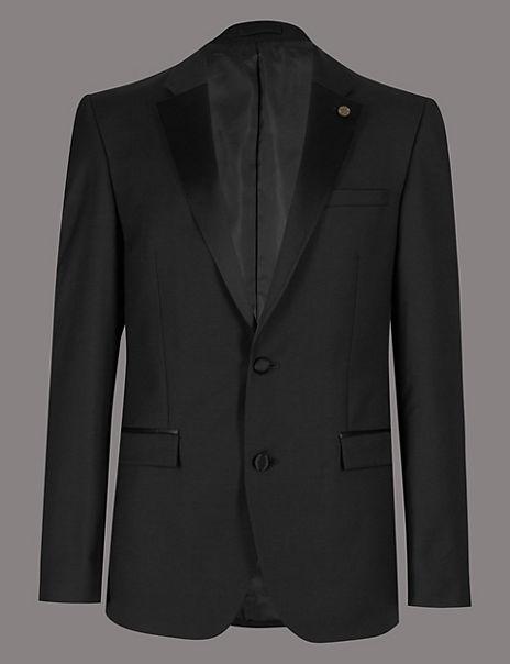 Black Tailored Fit Italian Wool Tuxedo Suit