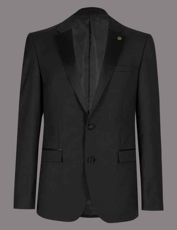 7b6458abb3f Black Tailored Fit Italian Wool Tuxedo Suit
