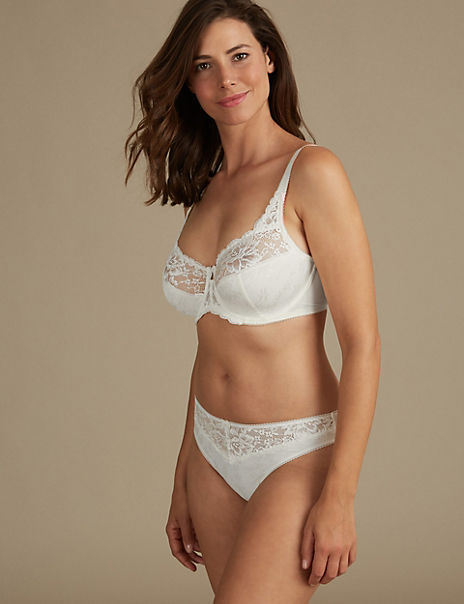 Jacquard & Lace Non-Padded Set with Full Cup DD-H