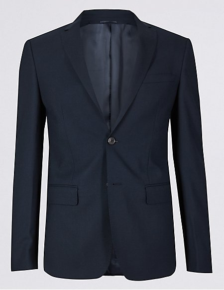 Big & Tall Navy Modern Slim Fit Wool Suit
