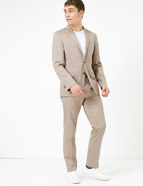 Slim Fit Cotton Suit with Stretch