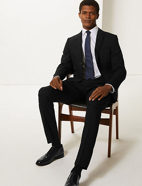 Black Skinny Fit Textured Suit