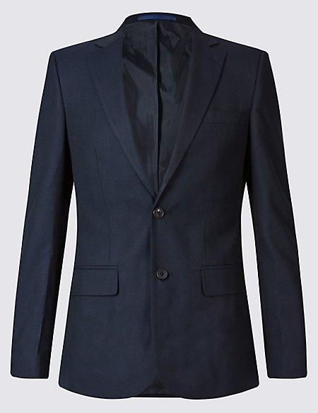 Navy Textured Slim Fit Suit
