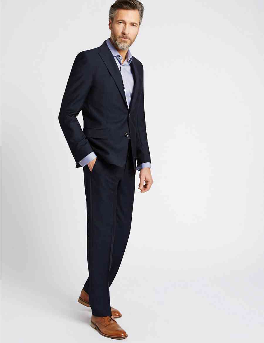 108ac621409 Navy Textured Tailored Fit Wool Suit