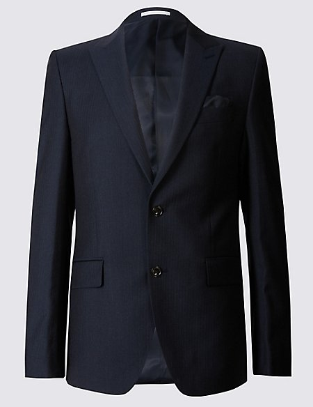 Navy Textured Tailored Fit Wool Suit