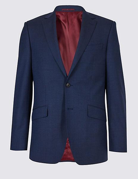 Big & Tall Indigo Textured Regular Wool Suit