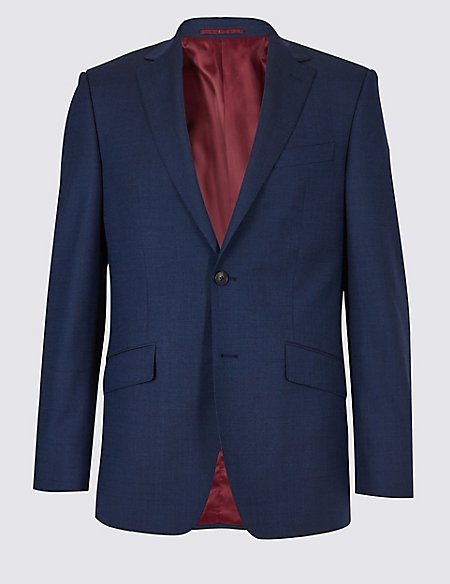 Big & Tall Indigo Textured Regular Wool Suit