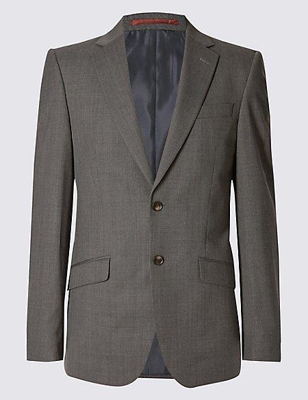 Grey Textured Regular Fit Suit