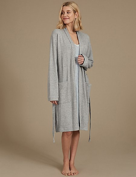 Textured Dressing Gown & Chemise Set