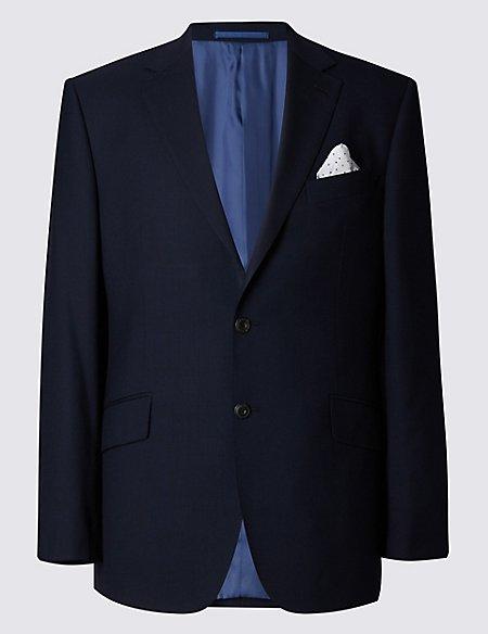 Big & Tall Navy Regular Fit Wool 3 Piece Suit