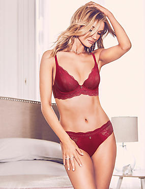 Silk & Lace Set with Non-Padded Plunge B-DD