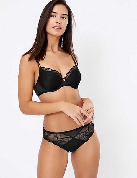 Swiss Embroidered Padded Set with Balcony Bra