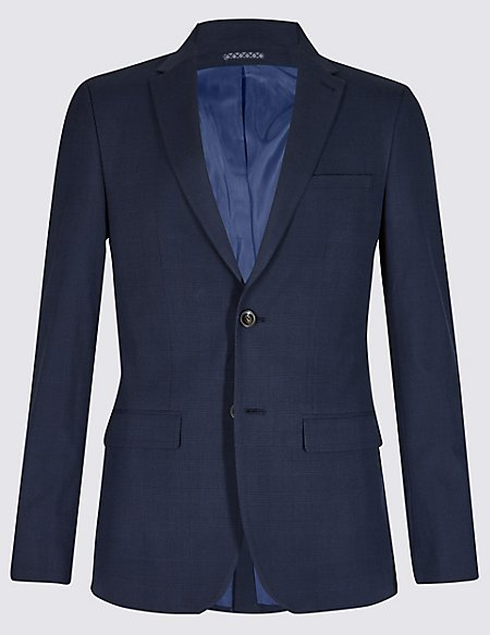 Indigo Checked Slim Fit 3 Piece Suit