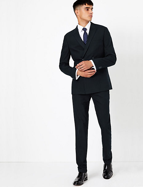 Navy Striped Skinny Fit Suit with Stretch