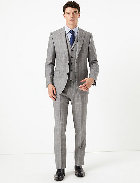 Grey Checked Tailored Fit Wool 3 Piece Suit