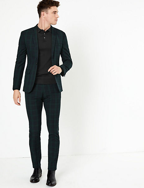 Checked Skinny Fit Suit
