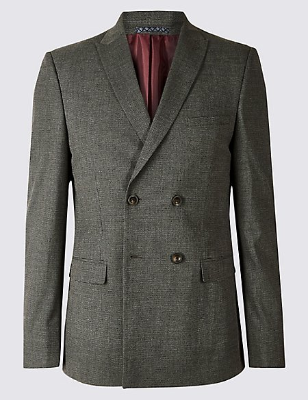 Grey Textured Skinny Fit Suit