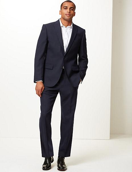 Navy Regular Fit Wool Blend Suit