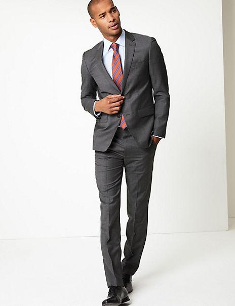 Grey Slim Fit Wool Suit