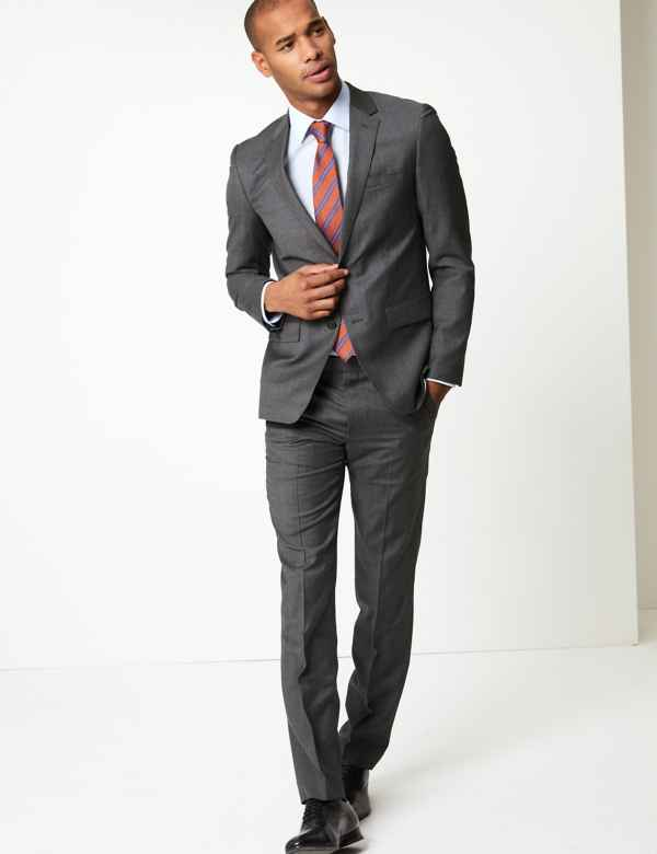 df26c2c691 Grey Slim Fit Wool Suit. M&S Collection Luxury