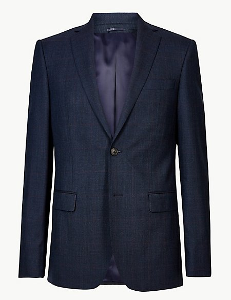Indigo Checked Tailored Fit Wool Suit