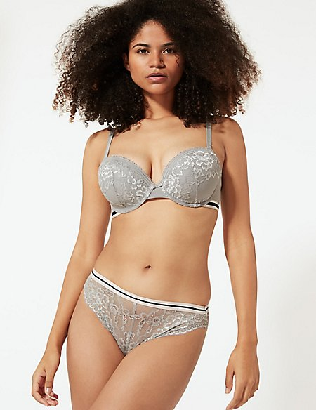 Lace Underwired Set with Balcony A-E