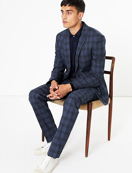 Blue Checked Skinny Fit Suit