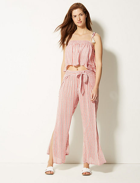 Striped Beach Top & Trousers Set