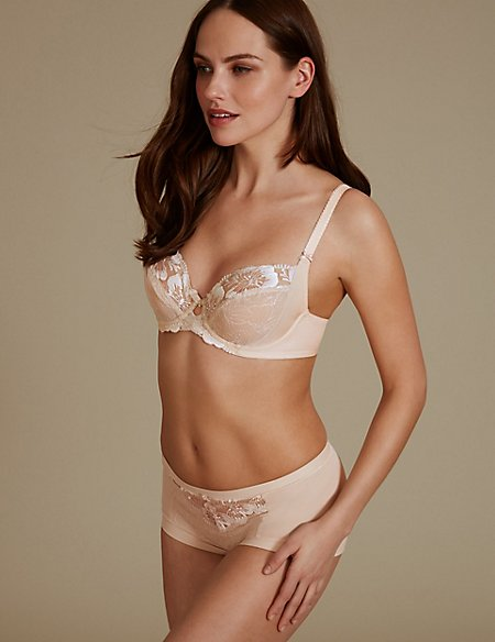 Floral Embroidered Set with Non Padded Balcony B-E