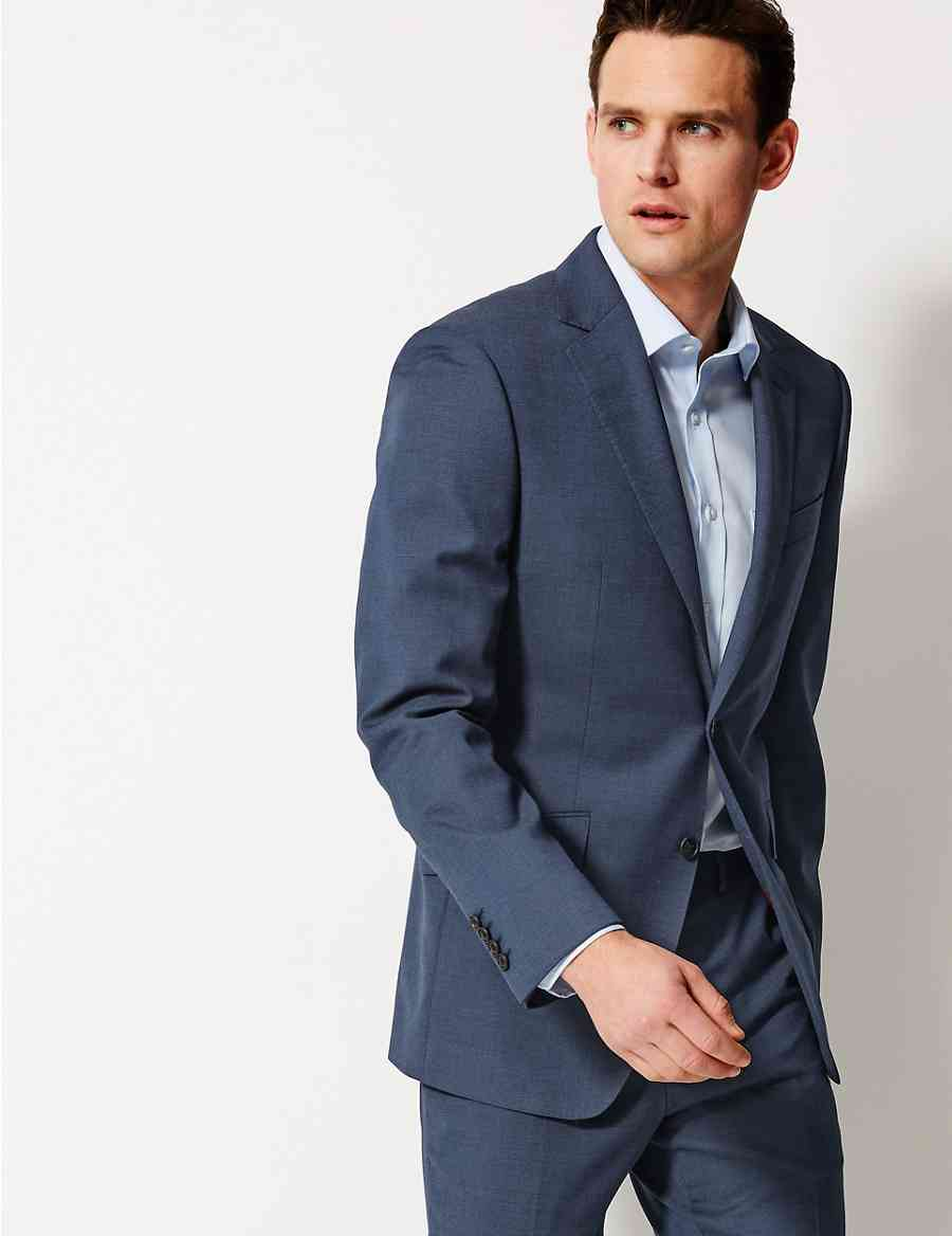 3b7440f412f Indigo Textured Regular Fit Wool Suit