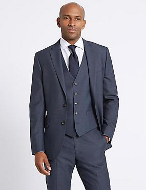 Blue Textured Slim Fit 3 Piece Suit, , catlanding