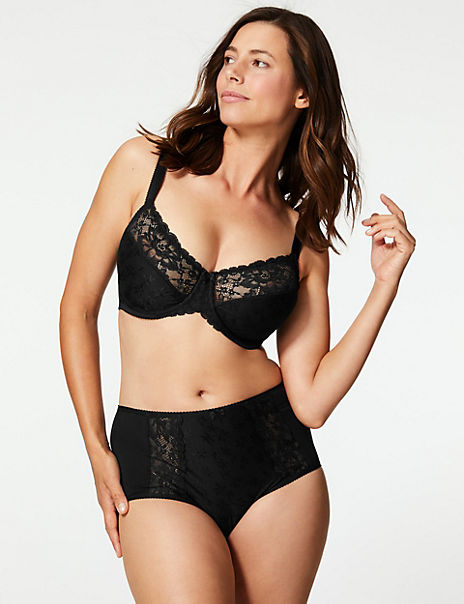 Jacquard Lace Set with Minimiser Full Cup C-GG
