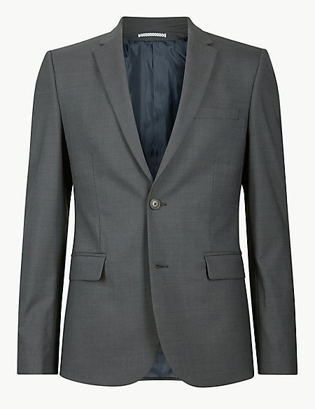 Charcoal Textured Skinny Fit Suit