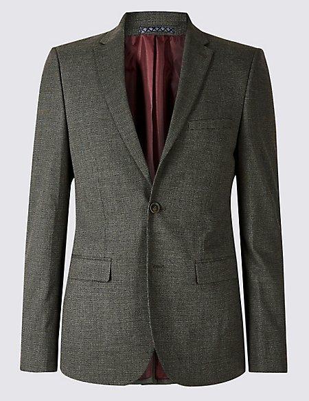 Grey Textured Modern Slim Fit Suit