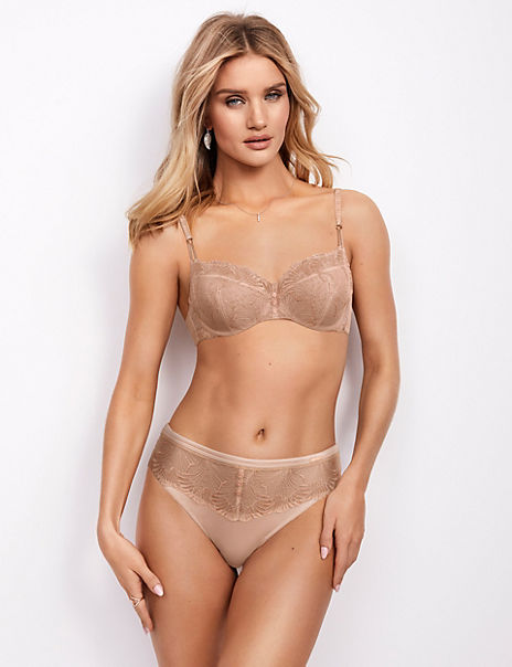 Serenity Lace Embroidered Balcony Bra Set