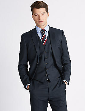 Navy Tailored Fit Wool 3 Piece Suit
