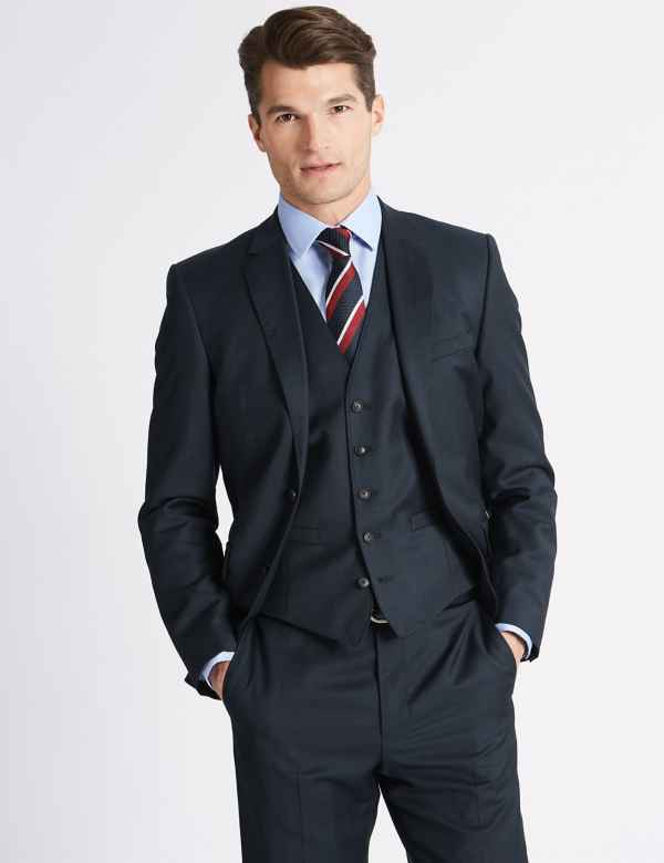Navy Tailored Fit Wool 3 Piece Suit 663929f4ea8