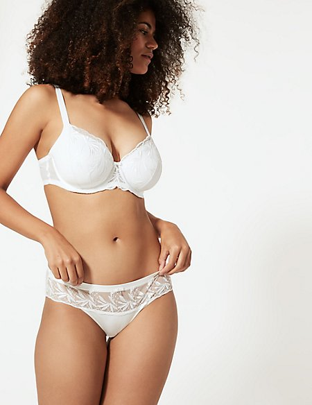 Embroidered Set with Padded Full Cup A-E