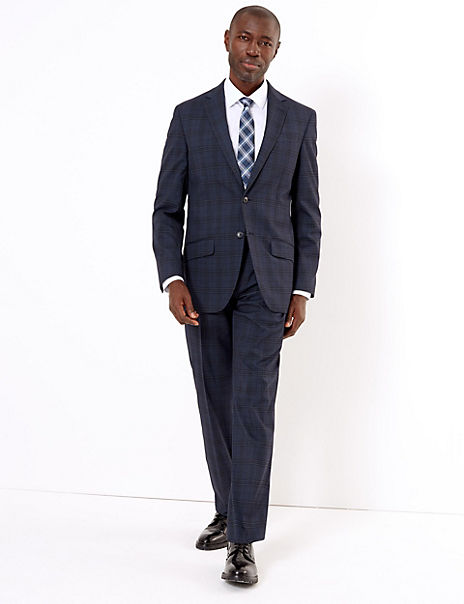 Blue Regular Fit Checked Suit