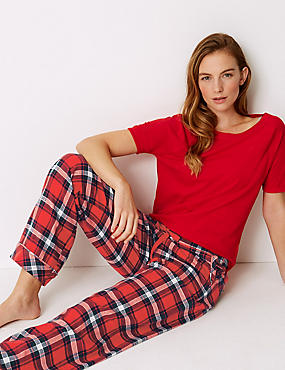 Checked Short Sleeve Pyjama Set, , catlanding