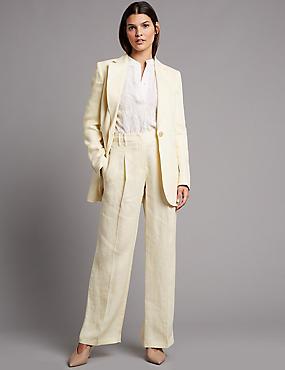 Pure Linen Blazer & Wide Leg Trousers Suit Set