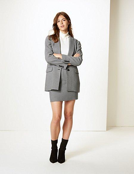 Checked Blazer & Skirt Suit Set