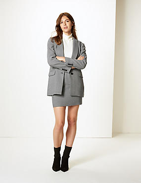 Checked Blazer & Skirt Suit Set