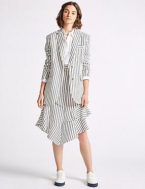 Linen Blend Blazer & Asymmetrical Midi Skirt
