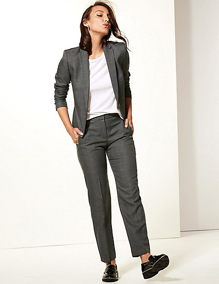 Checked Blazer & Straight Leg Trousers