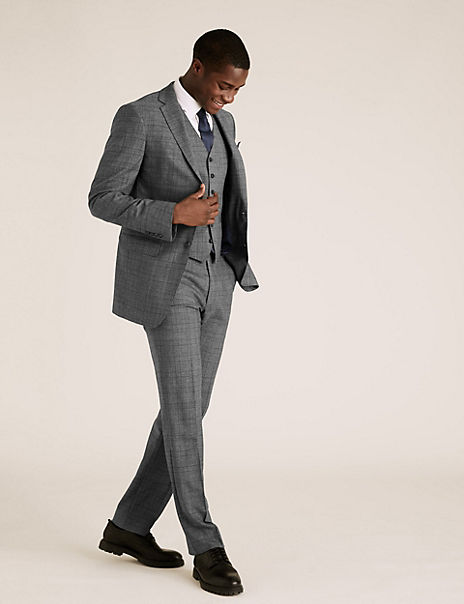 Charcoal Checked Wool 3 Piece Suit