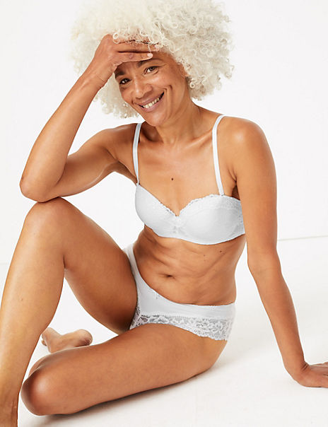 Louisa Lace Padded Set with Bandeau Strapless A-E